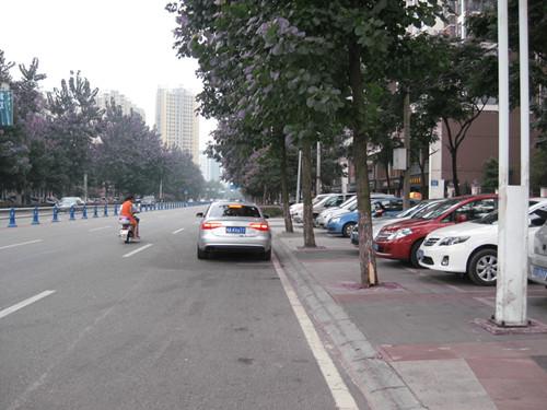 金强大学城商业街广场两边的临时停车位